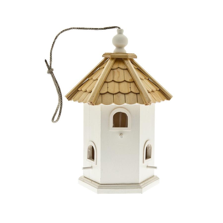 Cabane oiseaux blanche