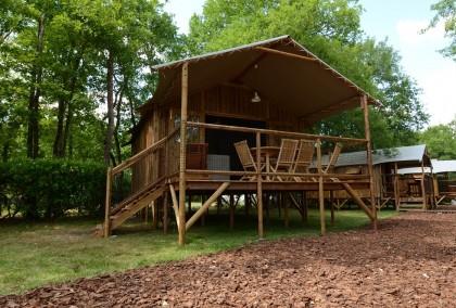Cabane bois sur pilotis avec toboggan