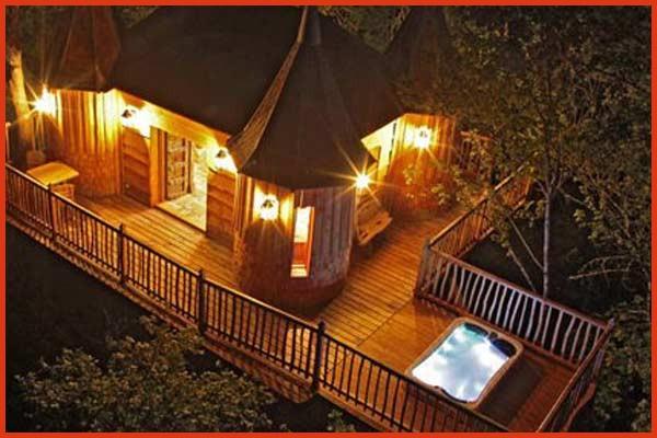 Cabane romantique avec jacuzzi