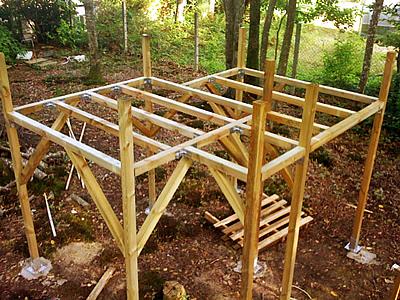 Plan construction cabane en bois sur pilotis - Mailleraye.fr jardin