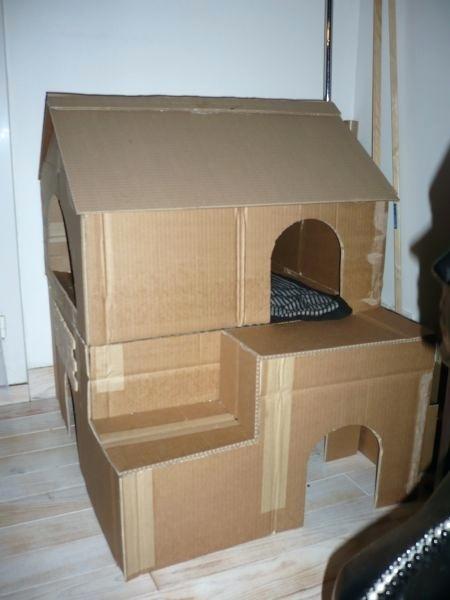 Cabane pour chat en carton