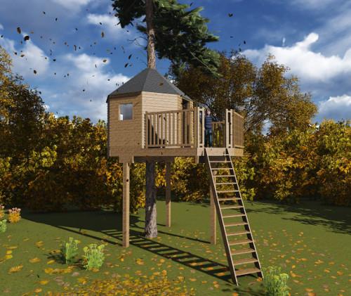 Cabane dans un arbre en kit