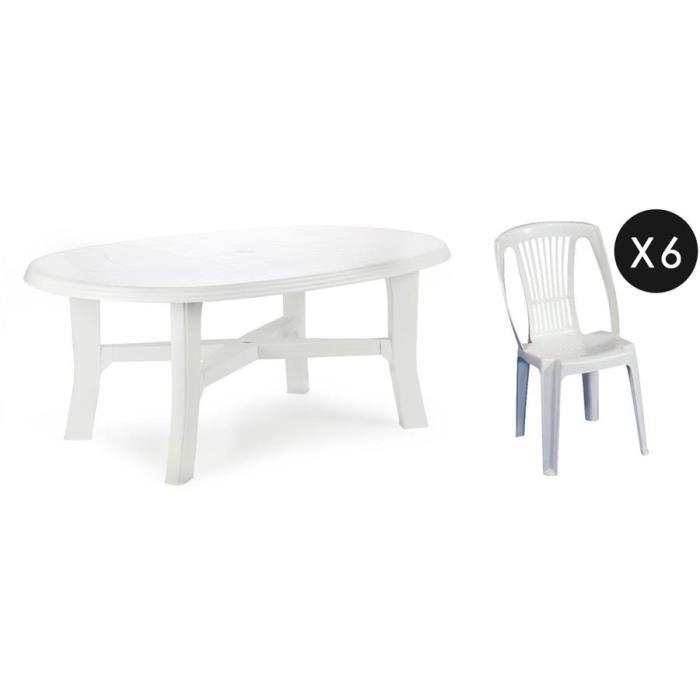 Salon de jardin 6 chaises plastique