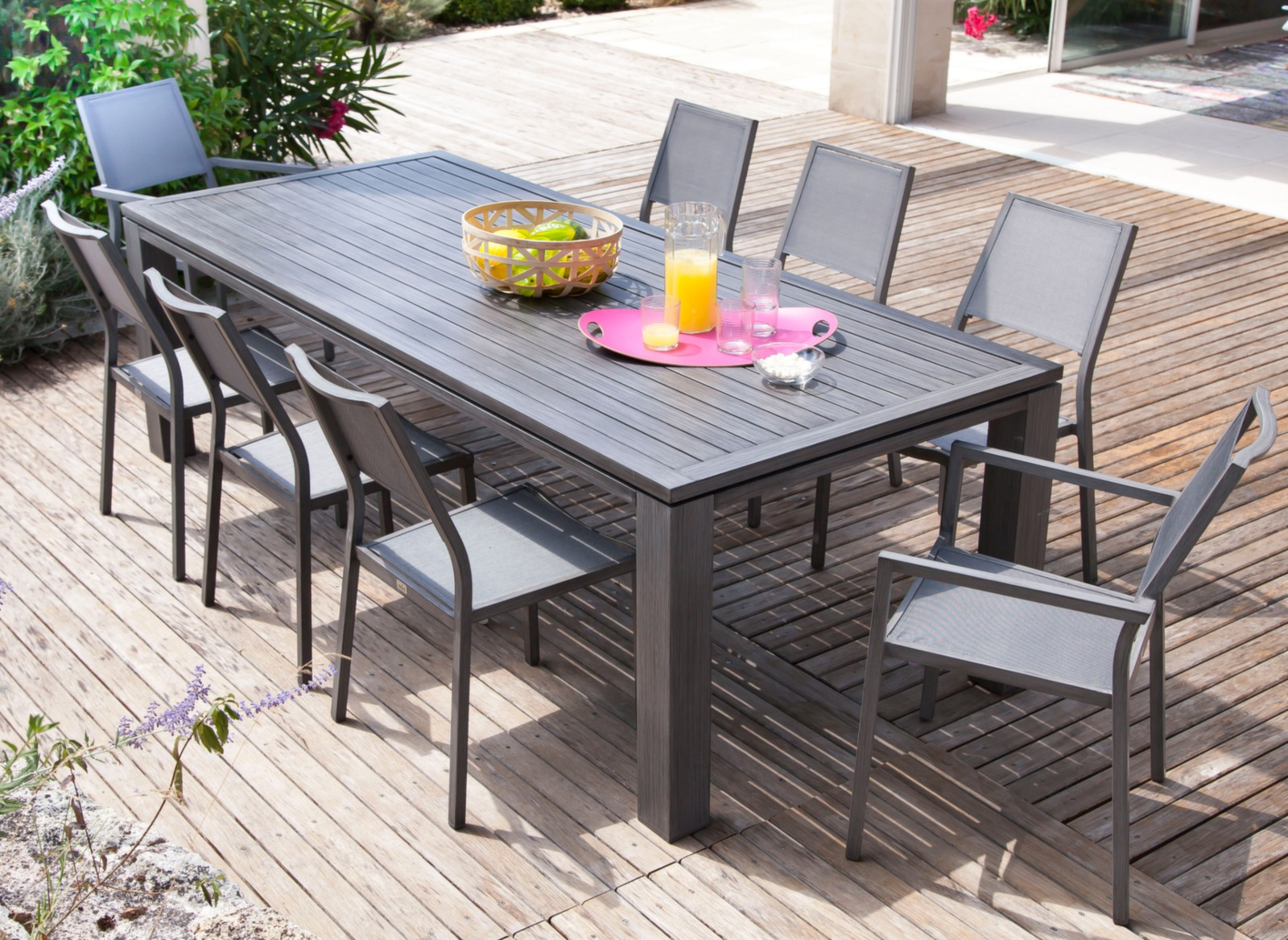 Salon de jardin cabourg 1 table + 4 chaises + 2 fauteuils