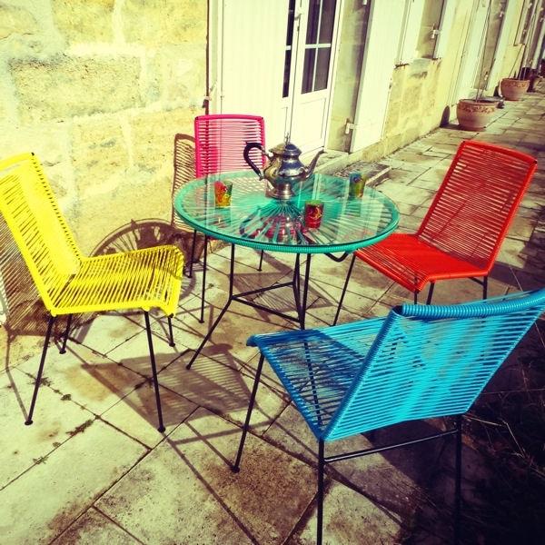 Salon de jardin colorée - Mailleraye.fr jardin