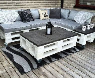 Table salon de jardin en palette