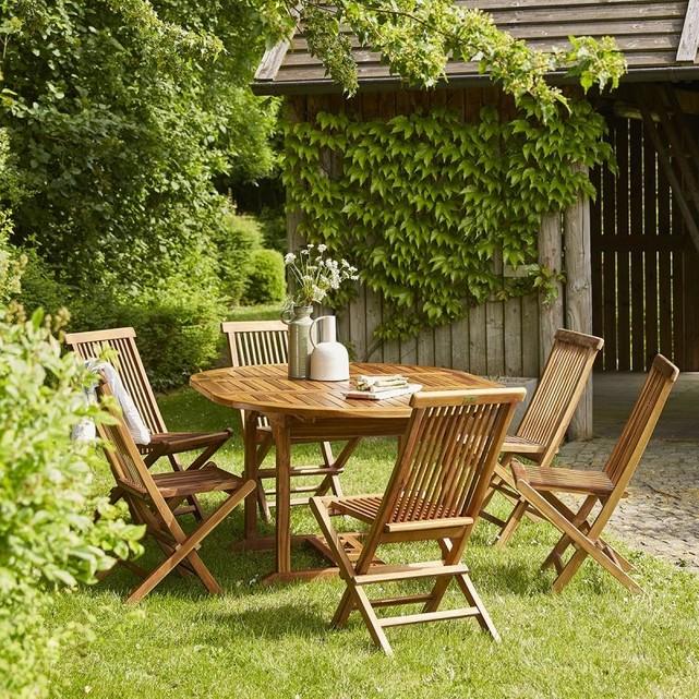 Salon de jardin en bois de teck huilé bali 6/8 places