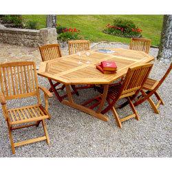 Salon de jardin teck table octogonale - Mailleraye.fr jardin