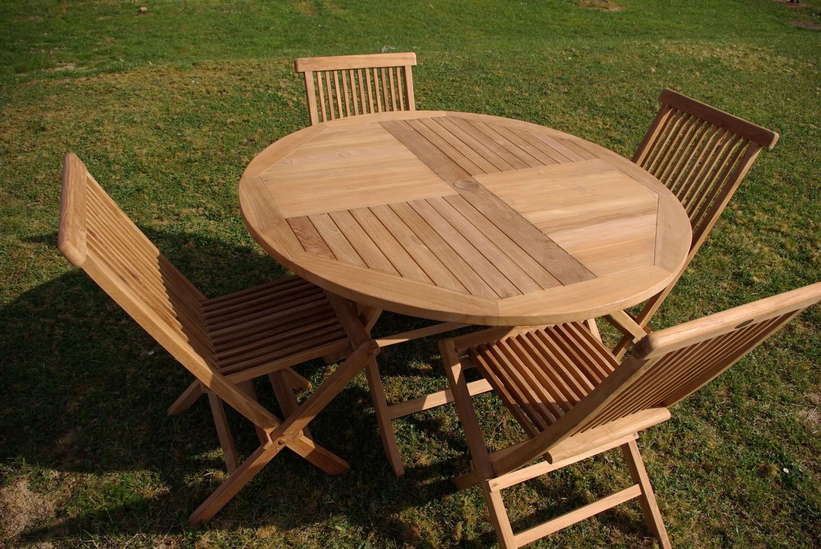 Table de jardin en teck soldes - Mailleraye.fr jardin