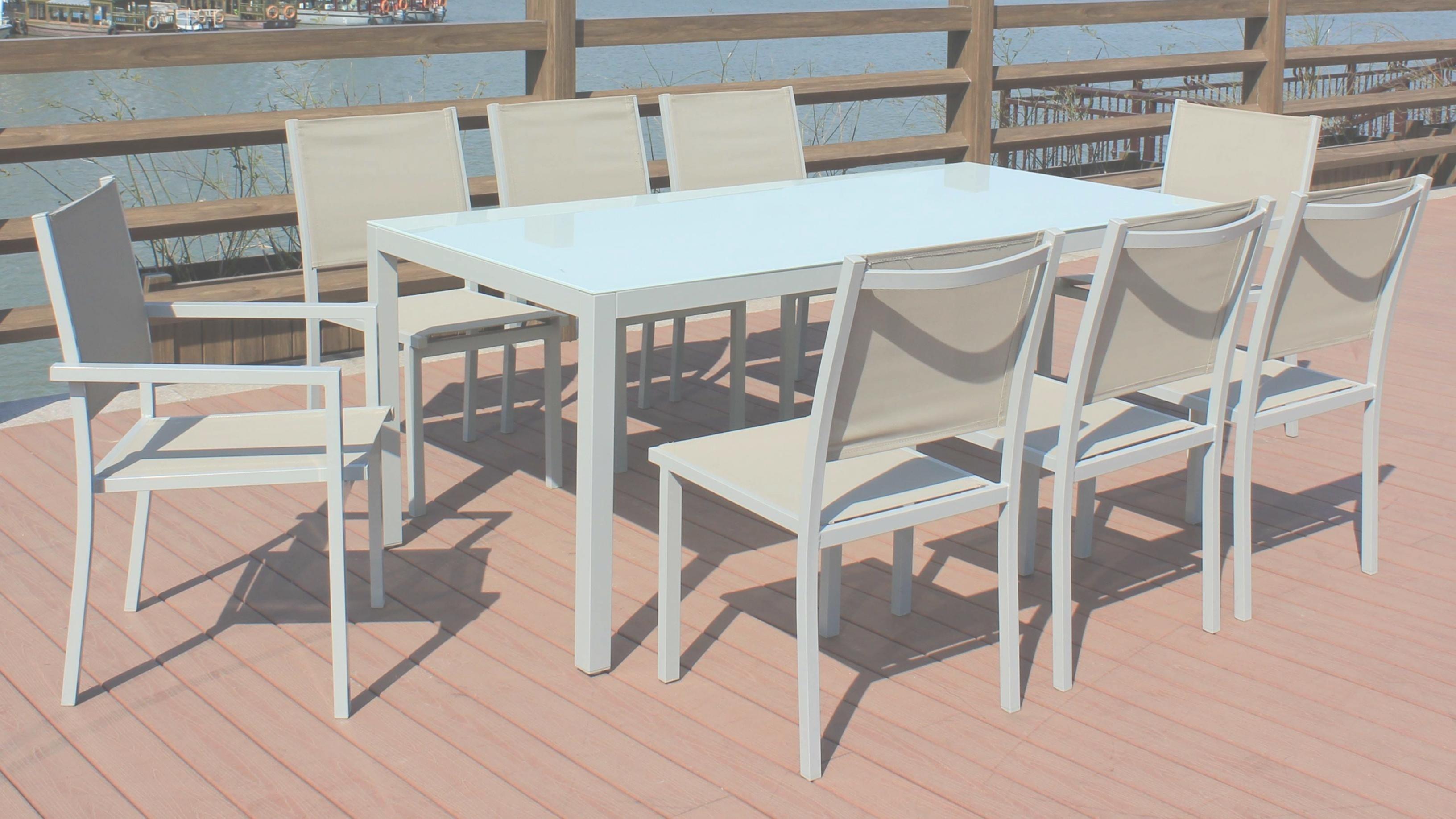 Salon de jardin barcelona 200cm aluminium 1 table + 8 fauteuils