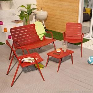 Salon de jardin rouge
