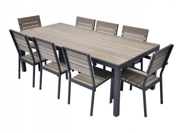 Salon de jardin aluminium et bois composite