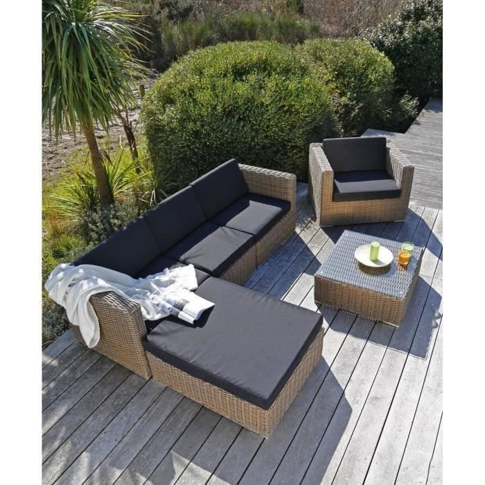 Salon de jardin 5 places en résine/alu marron/gris