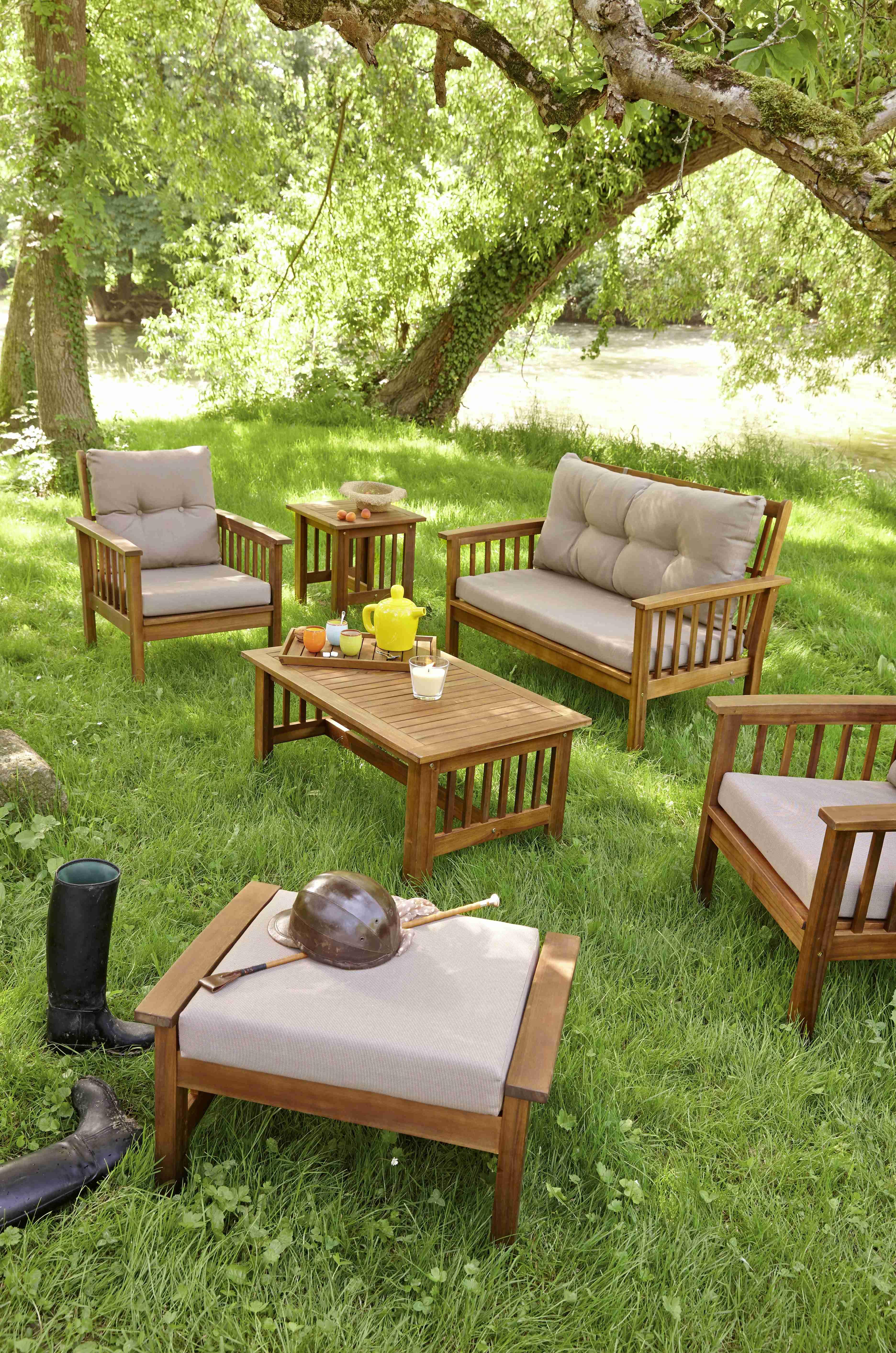 Salon de jardin en bois carrefour - Mailleraye.fr jardin