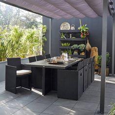 Salon de jardin imitation rotin noir