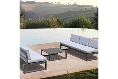 Lagoon salon de jardin 5 places aluminium - noir et taupe