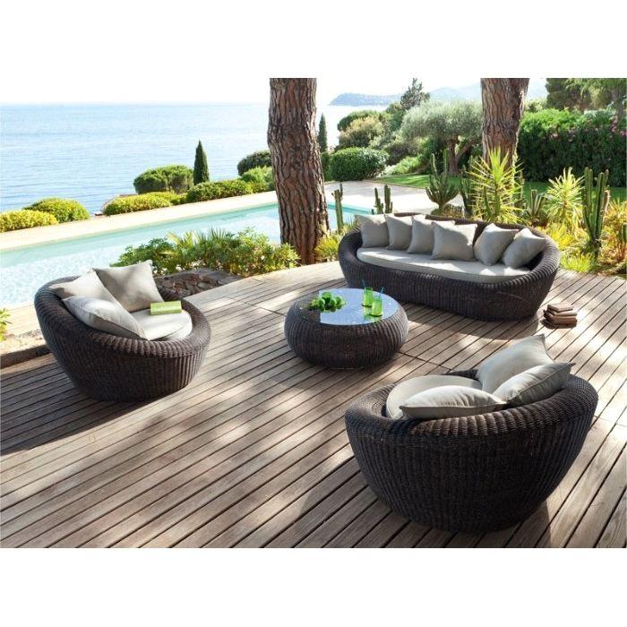 Salon de jardin aspect rotin - Mailleraye.fr jardin
