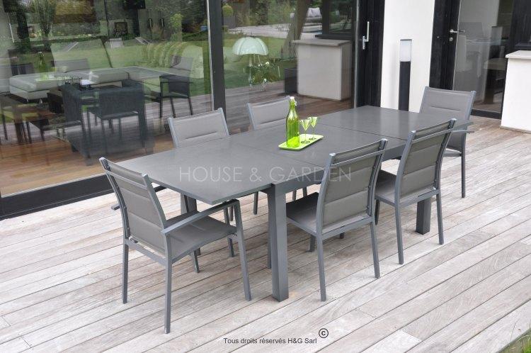 Salon de jardin alu composite avec rallonge - Mailleraye.fr jardin