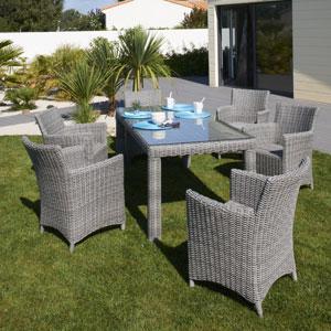 Table et chaises de jardin en r sine tress e mailleraye - Table de jardin tresse pas cher ...
