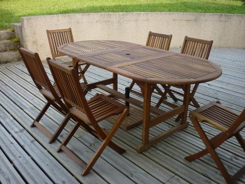 Table salon de jardin en bois - Mailleraye.fr jardin