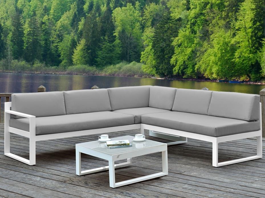 Nice salon de jardin 6 places en aluminium - gris - Mailleraye.fr jardin