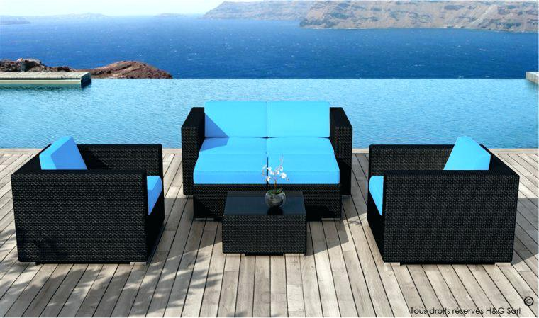 Salon de jardin en resine bleu marine - Mailleraye.fr jardin