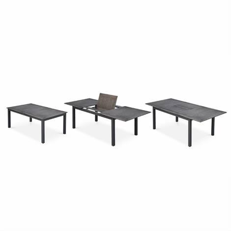 Salon de jardin chicago 8 places table à rallonge extensible 175/245cm alu gris textilène gris