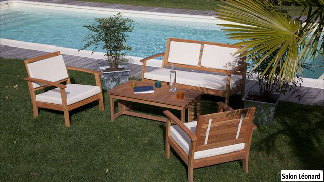 Salon de jardin en bois robinier - Mailleraye.fr jardin
