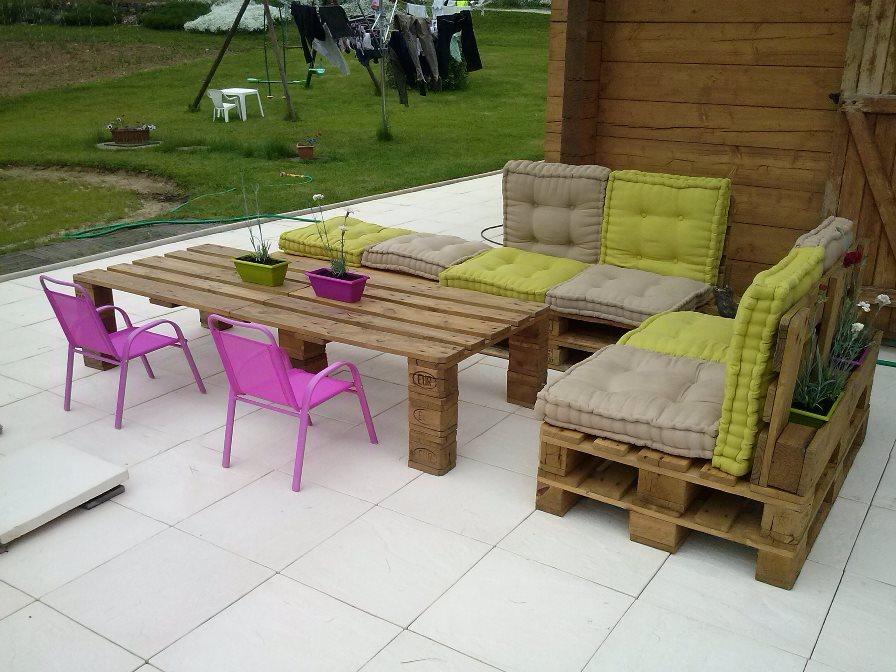Salon de jardin bas en palette - Mailleraye.fr jardin