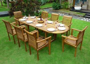Ensemble salon de jardin en teck henua 12 chaises - Mailleraye.fr jardin
