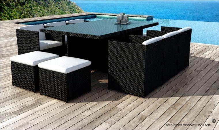 Salon de jardin resine noir 10 places - Mailleraye.fr jardin