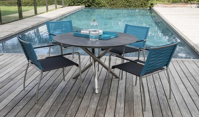 Salon de jardin alu moderne 8 chaises Guethary (Table anthracite + chaises  toile grise)