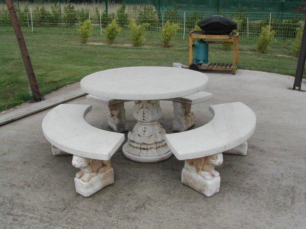 Salon de jardin en pierre naturelle - Mailleraye.fr jardin