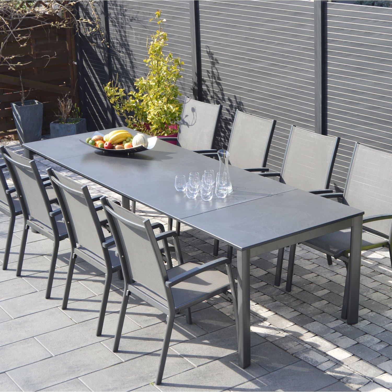 Salon de jardin modulo gris 10 personnes en aluminium et textilène ...