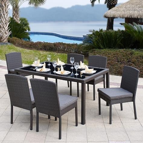 Salon de jardin en résine tressée 6 chaises