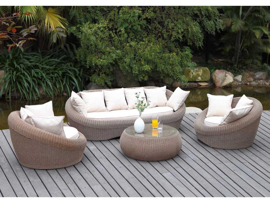 Salon de jardin rond résine tressée - Mailleraye.fr jardin