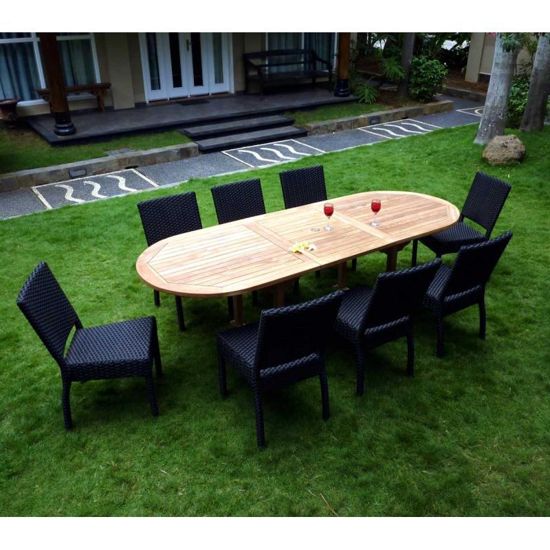 Java salon de jardin 9 pièces en résine tressée noir