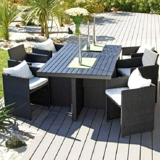 Salon de jardin en resine tressee encastrable 6 places