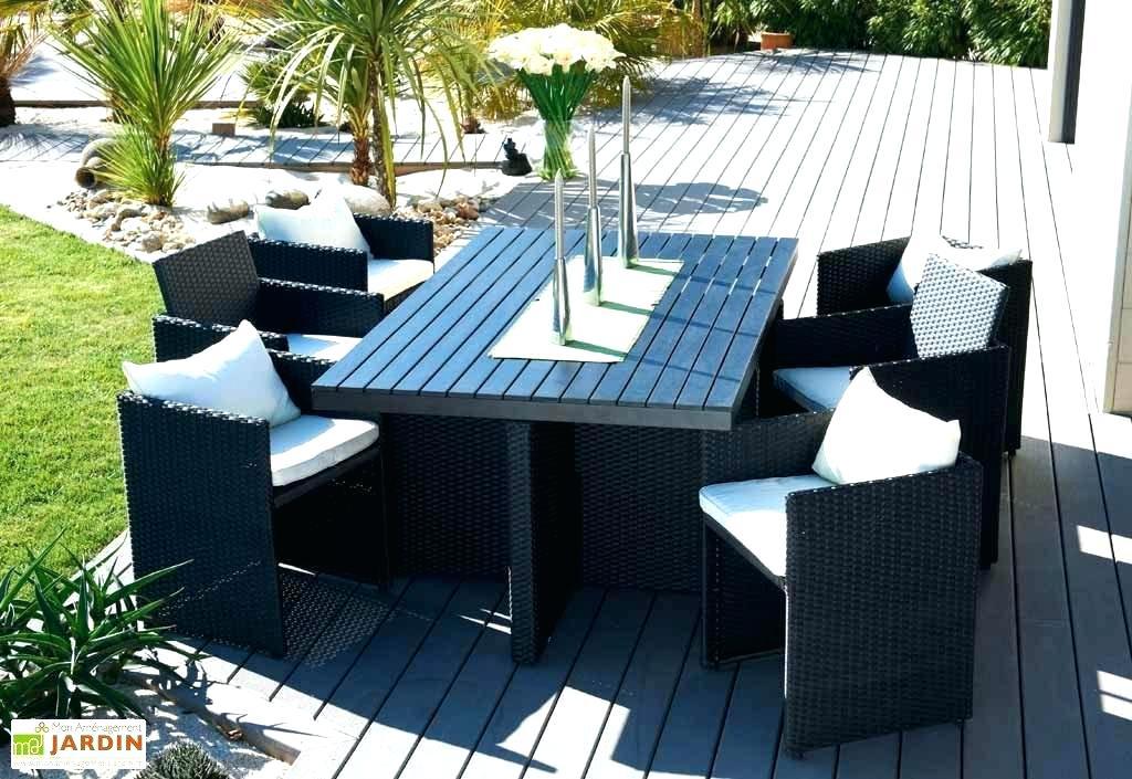Oman salon de jardin en aluminium 6 places - noir