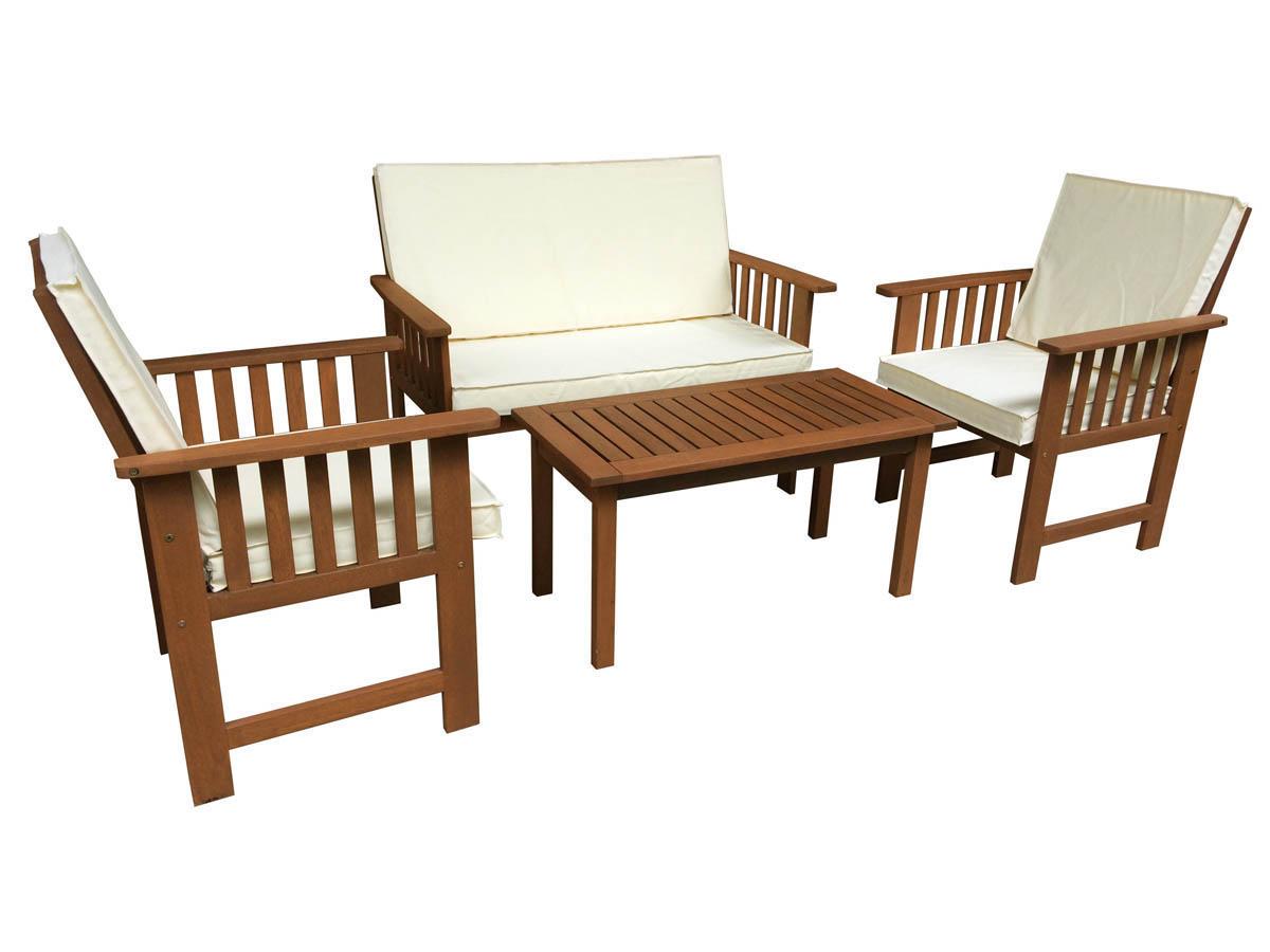 Salon bas de jardin en bois exotique - Mailleraye.fr jardin