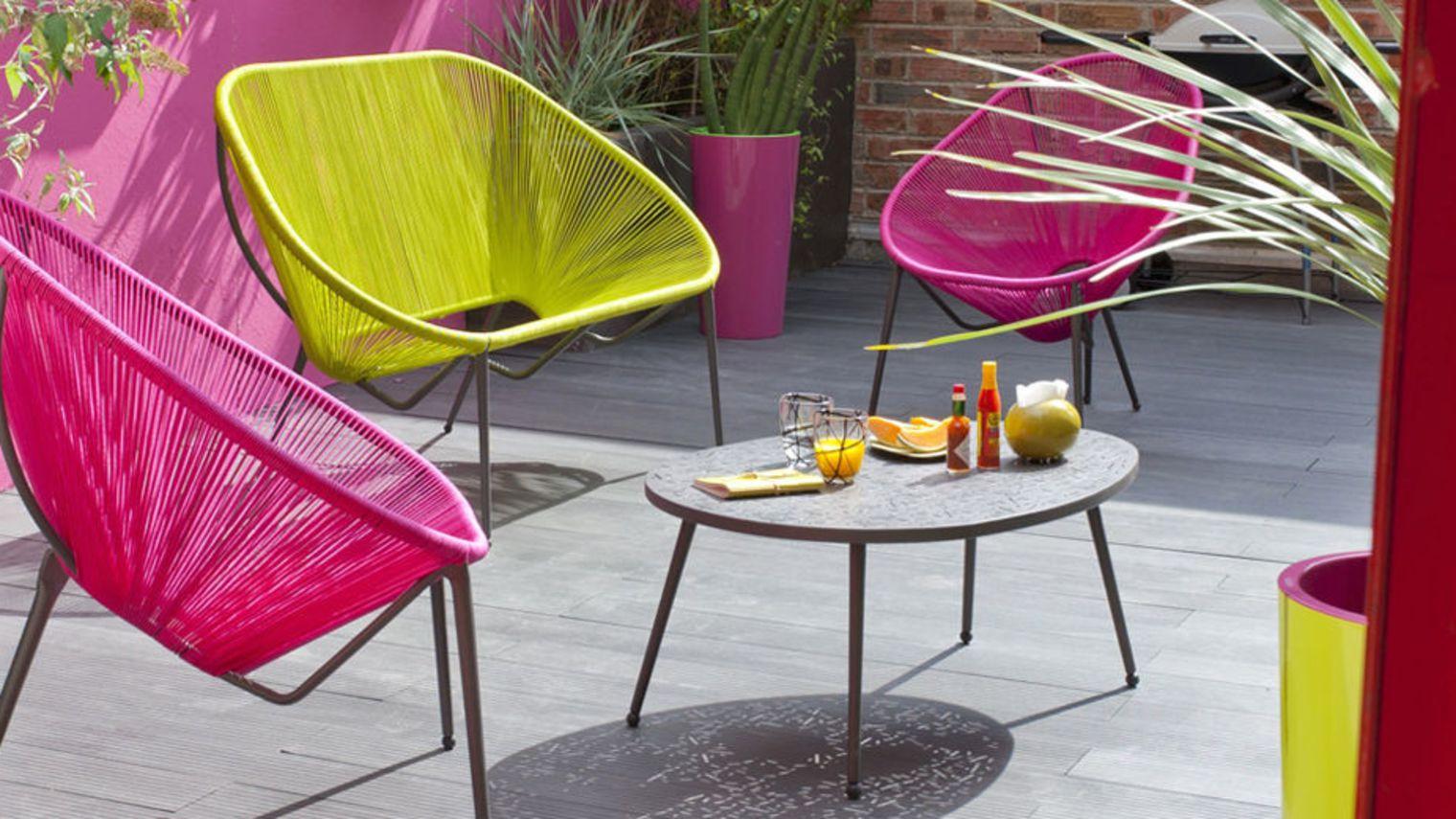 Salon de jardin en fer de couleur - Mailleraye.fr jardin