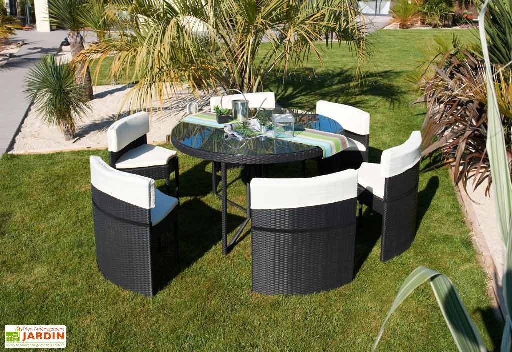 Salon de jardin resine tressee noir 6 places - Mailleraye.fr jardin