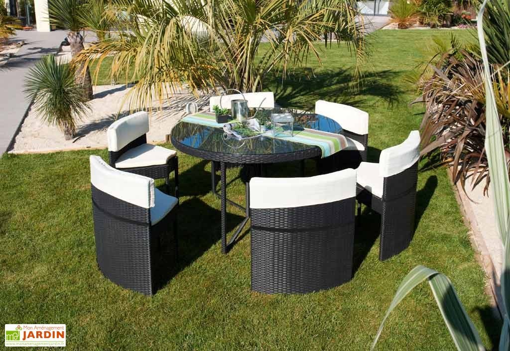 Salon de jardin resine tressee noir 6 places - Mailleraye.fr ...