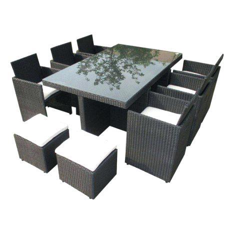 Table et chaises en resine tressee pas cher