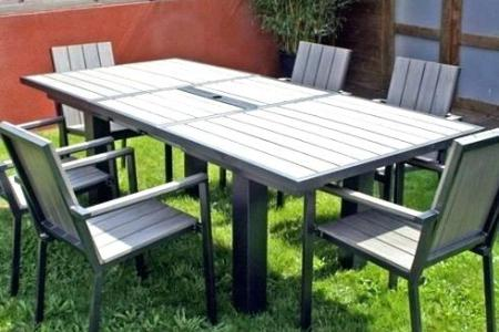 Salon de jardin 8 places alu bois composite brooklyn
