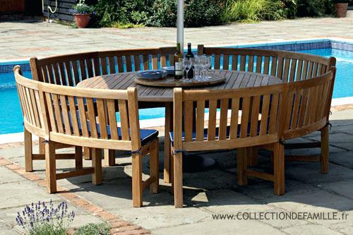 Best Table De Jardin Ronde En Bois Avec Banc Gallery - House Design ...