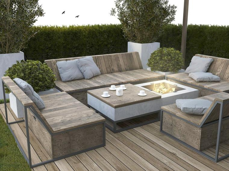 Salon de jardin bas en bois - Mailleraye.fr jardin