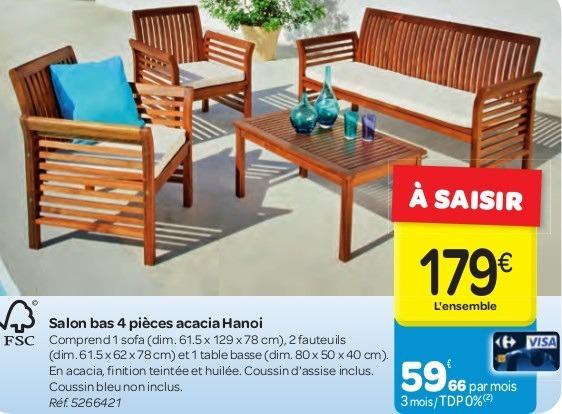 Salon de jardin 169 euros carrefour