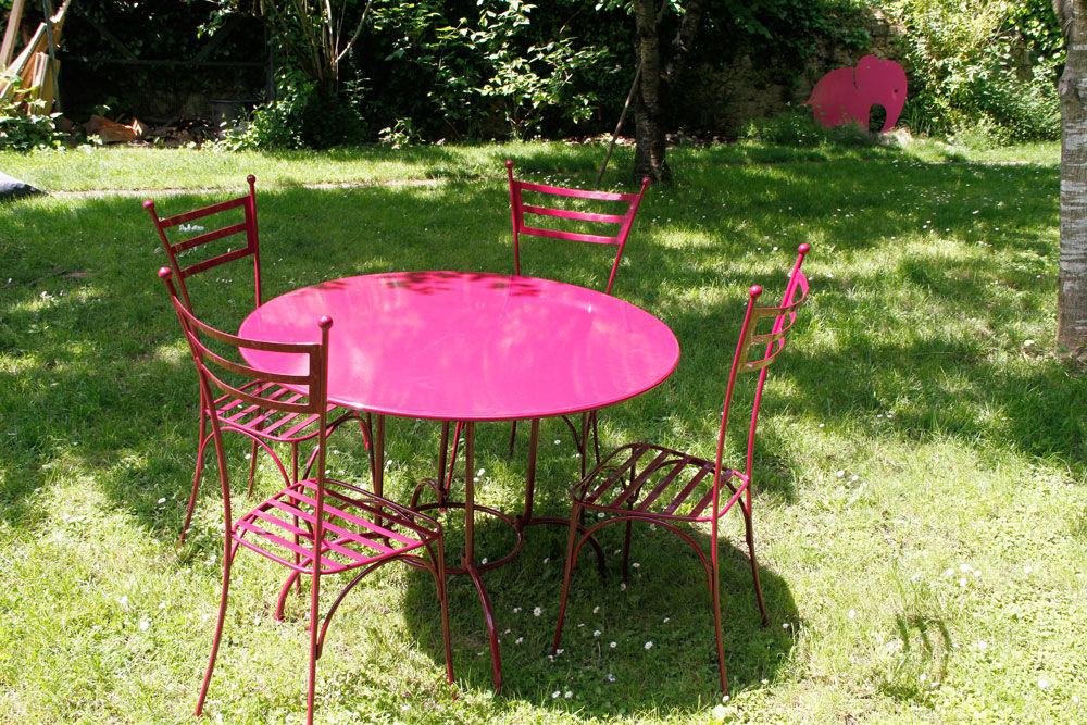 Salon de jardin en fer forgé marron - Mailleraye.fr jardin