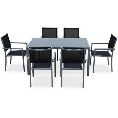 Salon de jardin capua en aluminium table 150 cm